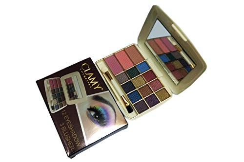 Clamy Travel Size 12 Color Eyeshadow and 3 Color Blusher 03