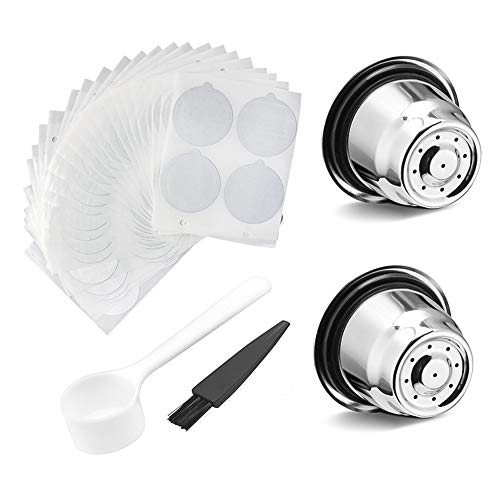 Konesky Reusable Coffee Capsules 2pcs Stainless Steel Coffee Pods Permanent Coffee Filter for Nespresso Coffee Machine with 100 Foil Seals Film (Scoop and Brush Include) (Whole Set)