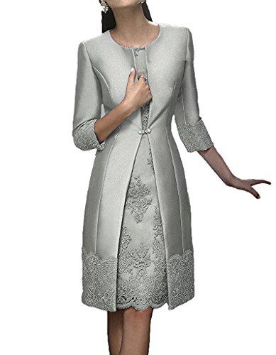 Promworld Damen A-Linie Kleid Silber