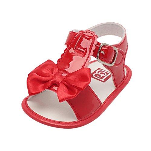 UOMOGO Scarpine neonato Scarpe Primi Passi Sportive Sandali per 0-18 Mesi (Età: 6~12 mesi, Rosso)