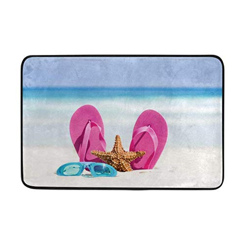 LUPNZ AKANT Summer Beach Flippers Starfish Doormat Indoor Outdoor Mat Non Slip Polyester for Door Kitchen Bedroom Garden,15.7''x23.6''