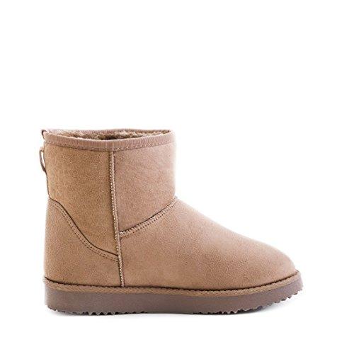 Damen Basic Schlupf Winter Schnee Boots Stiefel Stiefeletten mit Kunstfell warm gefüttert Khaki Kurzschaft