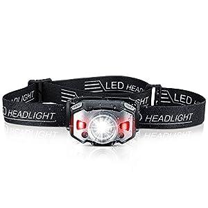 ZIONOR LED Stirnlampe USB Wiederaufladbare Zoombar Wasserdicht Kopflampe mit Rotlicht und Intelligenter Sensor für Joggen, Laufen, Campen, Angeln - 1200mAh