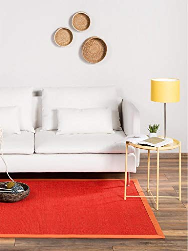 Benuta Sisal Teppich mit Bordüre Orange 160x230 cm | Naturfaserteppich für Flur und Wohnzimmer