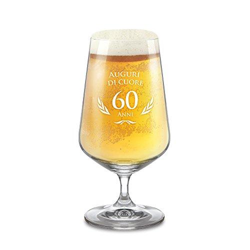 Amavel - bicchiere da birra con incisione per il compleanno - 60 anni - standard - calice a tulipano da pils - idea di compleanno per lui e lei - regalo per amanti della birra - capacità: 0,4 l