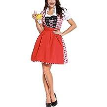 Perfectii Las Señoras Oktoberfest Traje Vestido Vestido Dulce Vestido del Dirndl para Oktoberfest Fiesta Carnaval Halloween