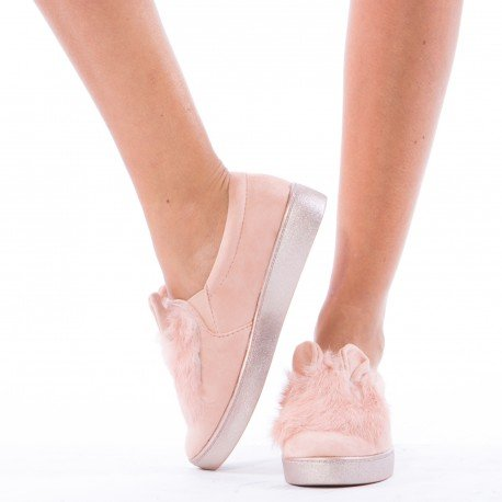 Ideal Shoes - Slip-on à fourrure Monia Rose