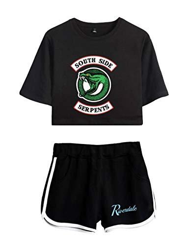 Riverdale Tops und Hosen Damen, Teenager Mädchen Mode Southside Serpents T-Shirts und Shorts Sommer Crop Tops Anzug Bauchfrei Oberteile Sport Kurze Tank Top Frauen Kurzarm Blusen T-Shirt Hemd (2, XS) -