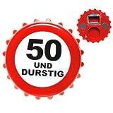 Udo Schmidt 50. Geburtstag Flaschenöffner Kronkorken Weiss-rot 8cm Einheitsgröße