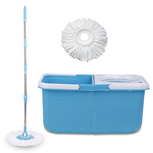 Gala E-Twin Bucket Spin Mop with Handle and Microfibre Refills in Blue with White