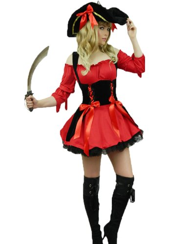 Yummy Bee - Piraten Karneval Fasching Kostüm + Hut + Schwert Entermesser Damen Größe 34 - 50 (rot,48-50)