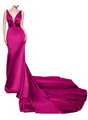 Missdressy Schick Satin Lang V-Ausschnitt Traeger Schleppe Abebendkleider Partykleider Ballkleider Festkleider Pink