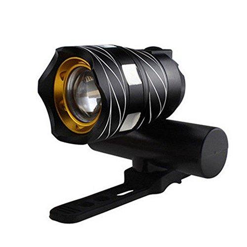 15000 LM zoombare XM-L T6 LED Fahrrad Beleuchtung Fahrrad Lampe Taschenlampe Scheinwerfer vorne mit USB wiederaufladbarer eingebauter Akku, Schwarz
