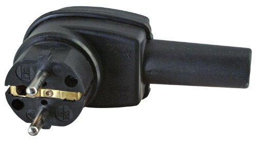 Kopp Schutzkontakt-Winkelstecker, aus Vollgummi, bruchfest & stabil, IP44 Feuchtraum geeignet, mit Knickschutztülle, für Kabel bis 3x2,5mm², schwarz