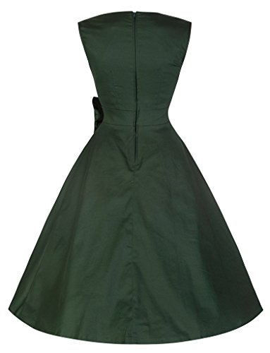 marloca Collier Vintage 40S 50s massif carré avec nœud Taille Jupe Robe Rockabilly Swing robes Soirée Vert - Vert