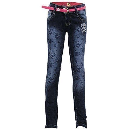 Mädchen Jeans Kinder Hose Schädel Strass Gratis Gürtel Freizeit - Denim - lx5246, Size 4-3/4 Years (Drucken Zip-fly Jeans)