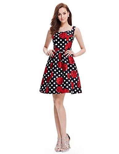 Alisapan Robe de Soiree A Pois Vintage 1950's Audrey Hepburn 05381 Multicolore