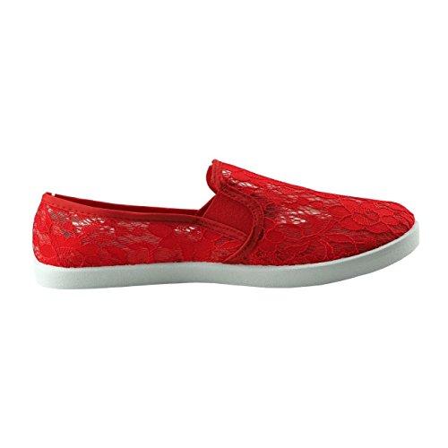 20021 Fashion4Young Damenschuhe Slipper Damenslipper Stoffschuhe Sommerschuhe Textil Rot