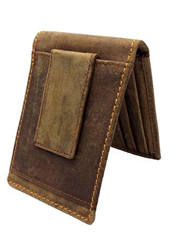 RFID SAFE Blocage Real Genuine Portefeuille de poche en cuir décontracté en cuir avec pochette Magnet et Id Id. De carte