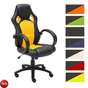 CLP Sedia gaming da ufficio FIRE, similpelle, capacità carico massimo 120 Kg, 5 ruote, imbottita, altezza regolabile, girevole, ergonomica, sedia racing con braccioli giallo
