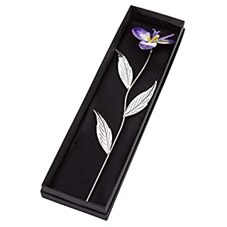 A1 PERSONALISED GIFTS Engraved Silver Plated Purple Orchid with Gift Box