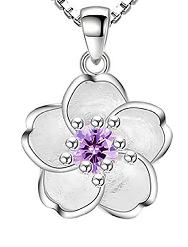 Collar de Flor para Mujer - Flor de Loto - Elegante - Simple - Madre - niña - San Valentín - Piedra Violeta - Idea Regalo Original - Navidad - cumpleaños - Joyas - Color Plata