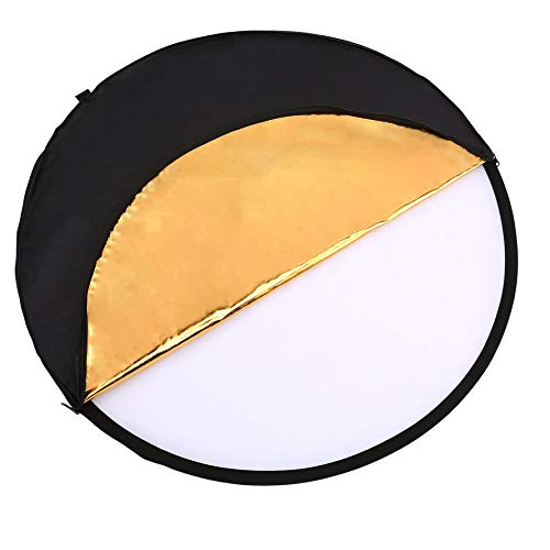 HoganeyVan Golden/Sliver Round Disk 5 in 1 Portable Lightweight Circular Steel-Framed Photography Studio Light Mulit Collapsible Disc Reflector