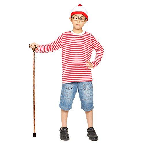 3Tlg Kinder Jungen Weihnachten Kostuem rot weiss Streifen T-Shirt Pulli langarm mit Muetze (Junge Waldo Kostüm Where's)