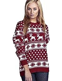 Rentier Schneeflocken Weihnachten Pullover für Frauen Pullover (Snow Flafes Wine, M)