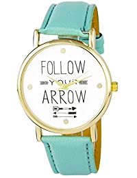 Zillion Follow Your Arrow Print Dial Mint Green Strap Analog Watch For Women, Girls