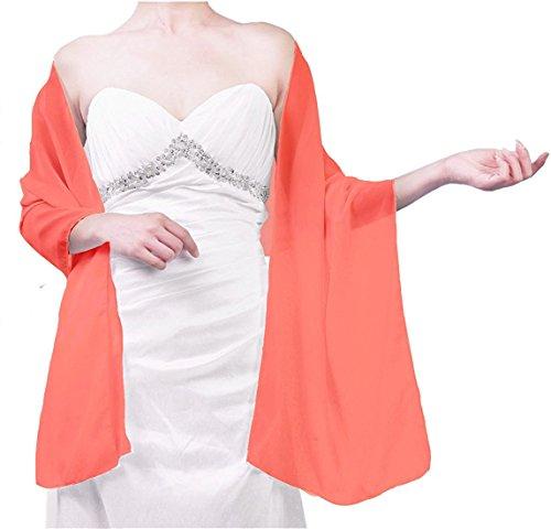 Beyonddress Damen Trend Fashion Schal Cape Wraps Sheer weichen Chiffon Braut-Shawl für Besondere Anlässe (27 Farben) Koralle