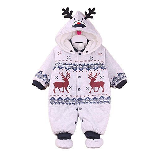 URSING Unisex Baby Weihnachten Strampelanzug Baby Overalls Strampler Schneeanzüge mit Kapuze Winter Outfits mit Stiefeln Mädchen Jungen Winterjacke Cartoon Warm Jumpsuit (3-6M, Grau)