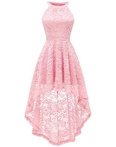 Berylove Damen Cocktail Bautjungfern Kleid Vokuhila Spitzenkleid Blumenmuster Einfarbig BLP7028Pink2XL -