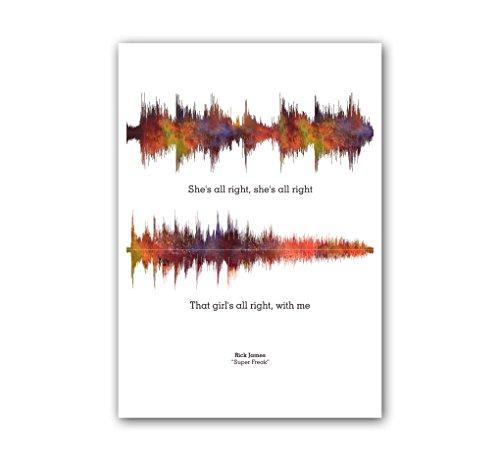 Lab No. 4 Rick James Super Freak Song Soundwave Music Print