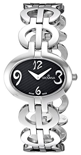 GROVANA 4566.1137 Women's Quartz Swiss Watch with Black Dial Analogue Display and Silver Stainless Steel Bracelet