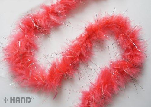 Garland Trim (B703 Silber Trim Salmon Pink Feather Garland -1.87m)