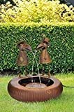 Metall-Brunnen Gartenbrunnen 2 Raben mit Wasserspiel + Elektropumpe