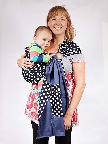 Baby Ring Sling Carrier - Blue and White Polka Dot -