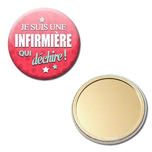 Je suis une Infirmière qui déchire Miroir de poche 56mm ( Idée Cadeau Médical Hôpital Remerciement Noël Anniversaire )