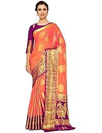a02938b4938 Mimosa Art Chiffon silk Wedding saree Kanjivarm Pattu style With Contrast  Color  Orange (4264