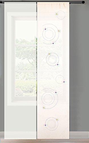 Gardinenbox 2er Set Schiebegardine Flächenvorhang Strass Blickdicht und Voile Paneel transparent, 245x60, Weiß Circle, 856250