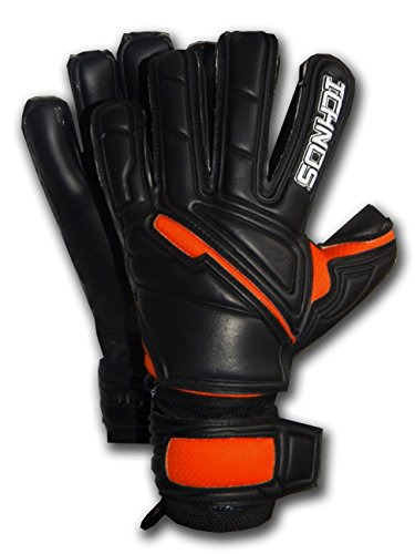Ichnos Guanti da Portiere Calcio con Stecche Barrette protettive Removibili Nero/Arancione Adulto (9)