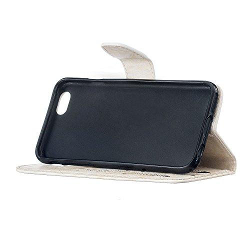 iPhone 6 Tasche, Anfire iPhone 6S Hülle in Schwarz Magnetverschluss Kartenfächer Klapptasche Stil Schutzhülle Handyhülle Apple iPhone 6 / 6S (4.7 Zoll) Premium Geldbeutel Kunstleder Flip Taschenhülle  Weiß