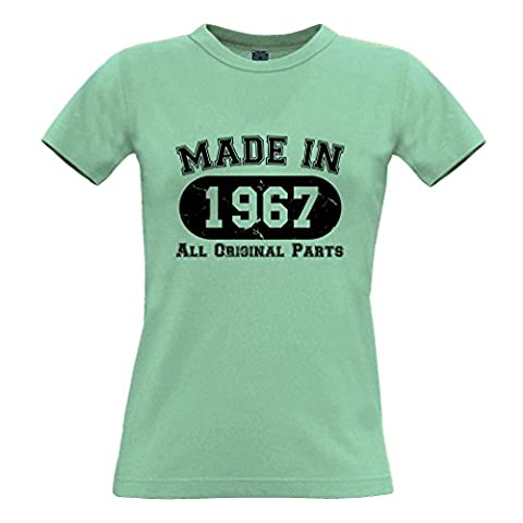 Made In 1967 All Original Parts Distressed Design Happy Birthday Fiftieth 50th Gift Present Celebration Milestone Cool Design Novel Womens Ladies T-Shirt Cool Birthday Gift
