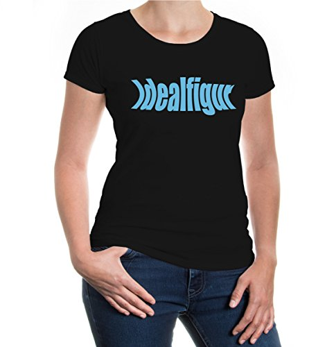 Girlie T-Shirt Idealfigur-XL-Black-Skyblue (Maillot Abnehmen)