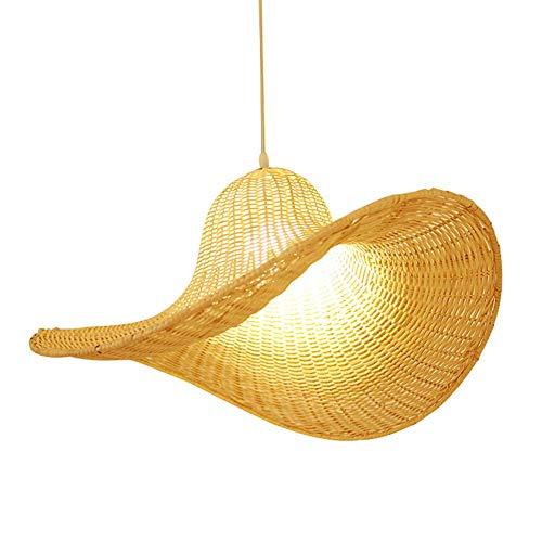Hut Hängen Licht Chrom Unterputz Deckenbeleuchtung Handgewebte DIY Wicker Rattan Lampenschirme Weben E27 Pendelleuchte Durchmesser 23,6 Zoll Für Wohnzimmer Schlafzimmer Flur ()