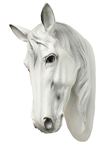 Dekofigur Pferdekopf Büste Pferd weiß Tierdeko Hengst Stute Indianer Büste