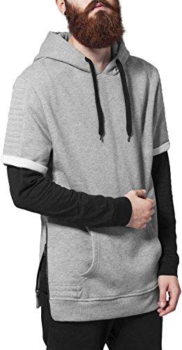 Urban Classics Herren Sweatshirt Kapuzenpulli Short Sleeve Side Zipped Hoody grau (Grau) Small Short Sleeve Zip Hoodie