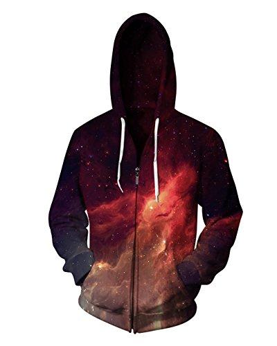 Sankill Zip Hoodie Herren Kapuzenpullover Galaxy Bunte HD 3D bedruckte Pullover Unisex Harajuku Langarm Sweatshirt Kapuzenjacke Mantel (Satin Seide Pullover)