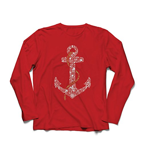Langarm Herren t Shirts salziger Seemann-Anker, Seematrosen-Seemann-Hemd, Segel- und Yachtingkleidung (X-Large Rot Mehrfarben) (Green Bay Transfer)